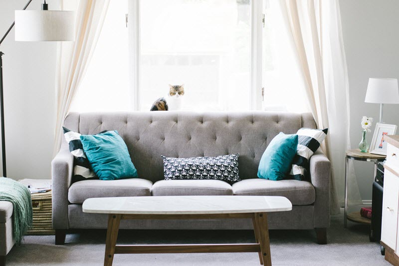 couch in bright room